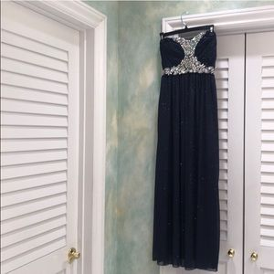Sparkly Holiday Party Dress - Dark Blue/Silver
